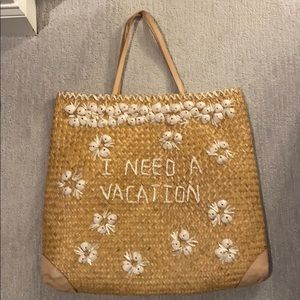 •KATE SPADE• I Need A Vacation Straw Tote Bag